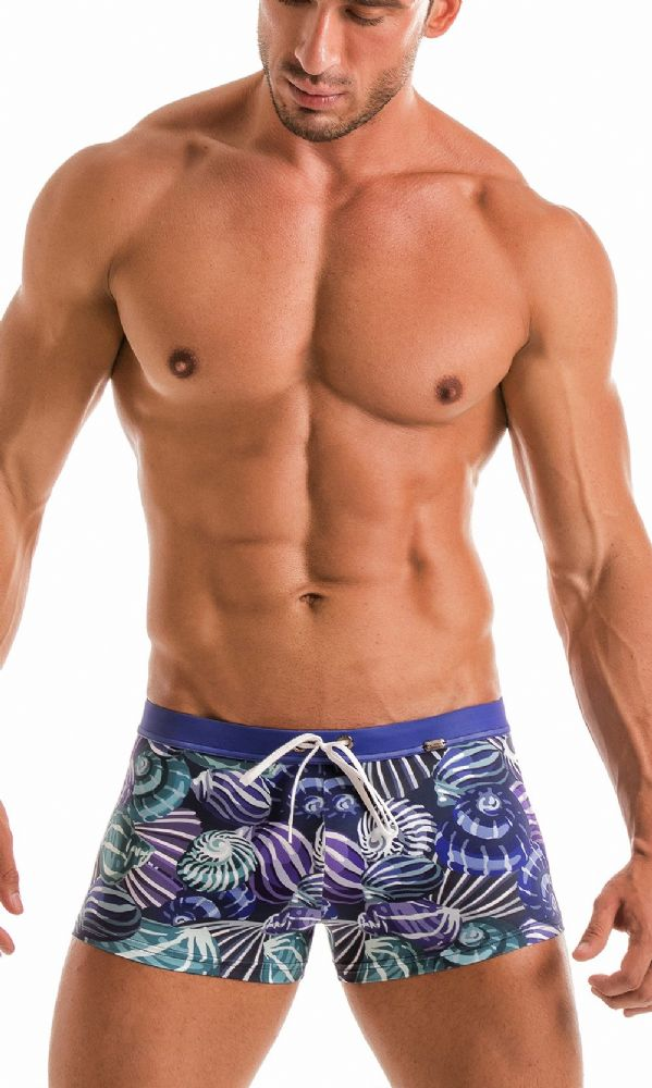 Geronimo Mens Blue Swimwear Boxer Trunks 1903b1